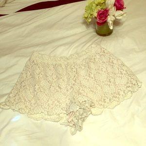 Free people scalloped lace shorts